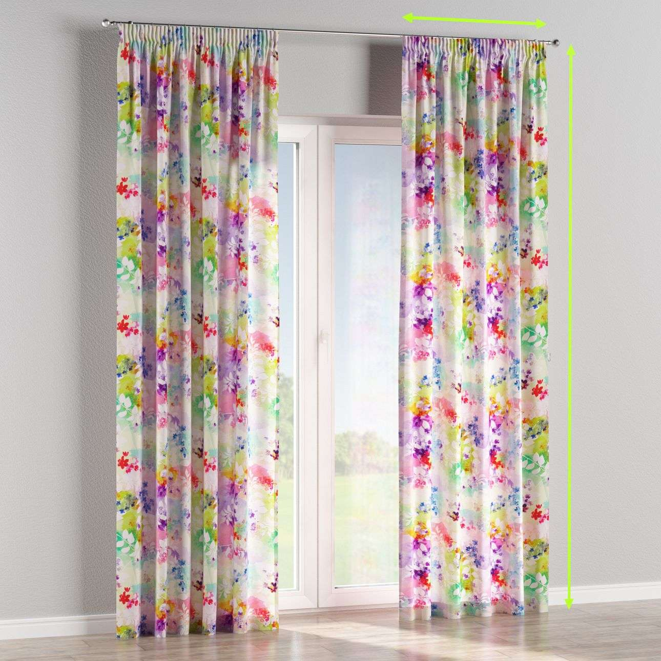 Pencil pleat curtains in collection Monet, fabric: 140-07