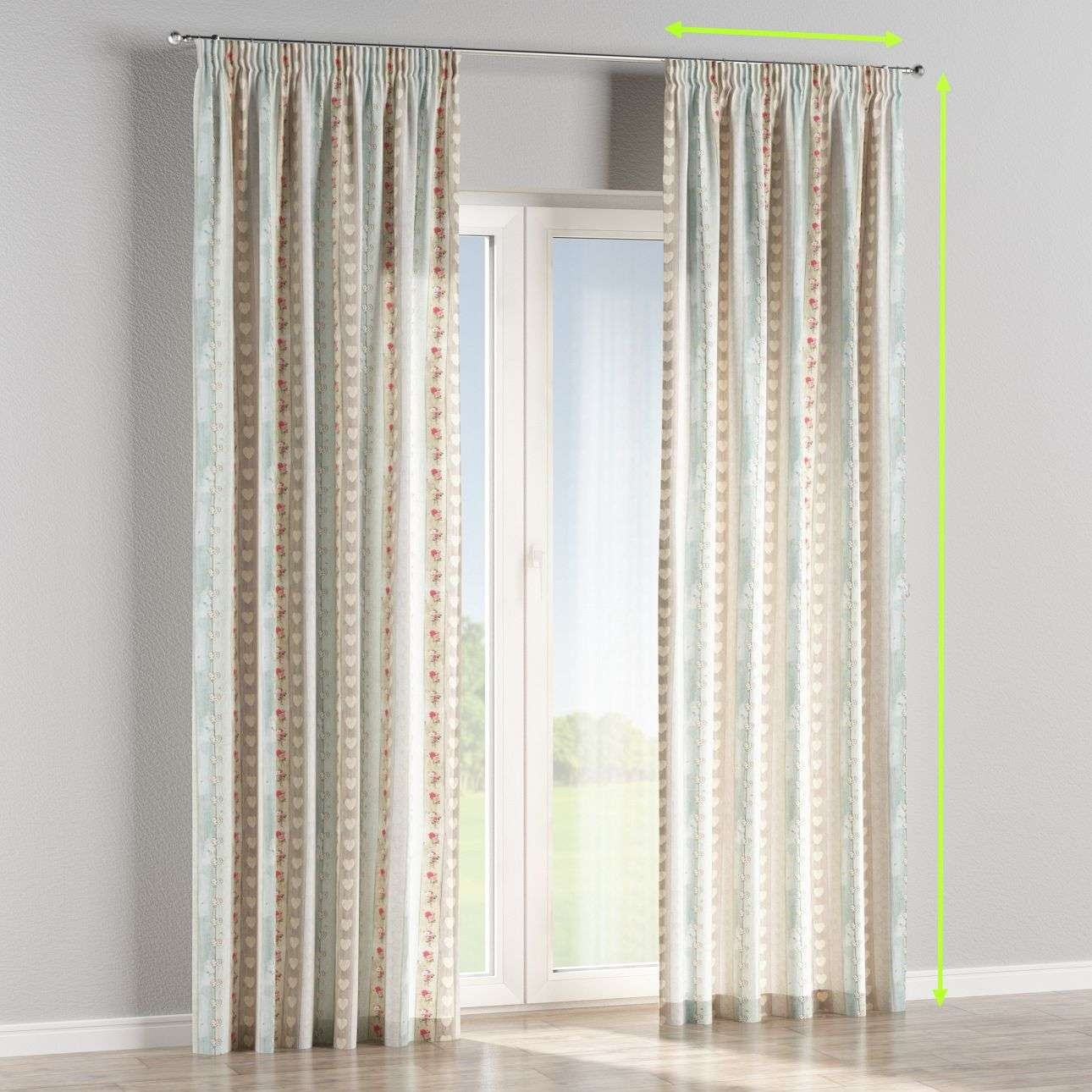 Pencil pleat curtains in collection Ashley, fabric: 140-20