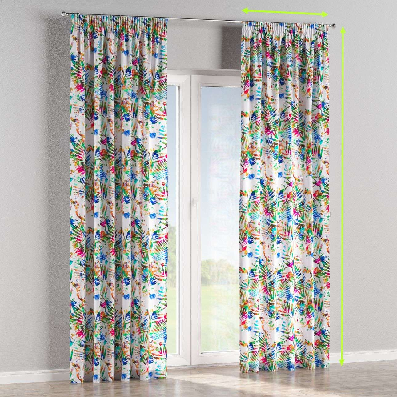 Pencil pleat curtains in collection New Art, fabric: 140-22