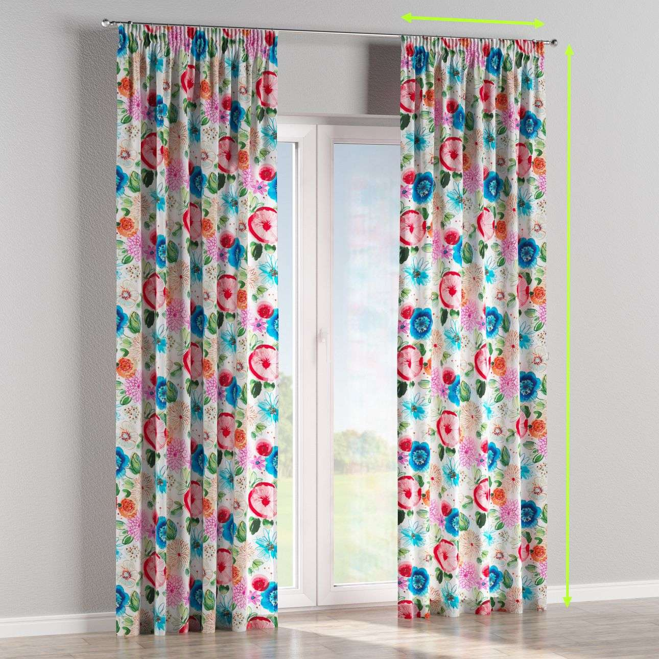Pencil pleat curtains in collection New Art, fabric: 140-24
