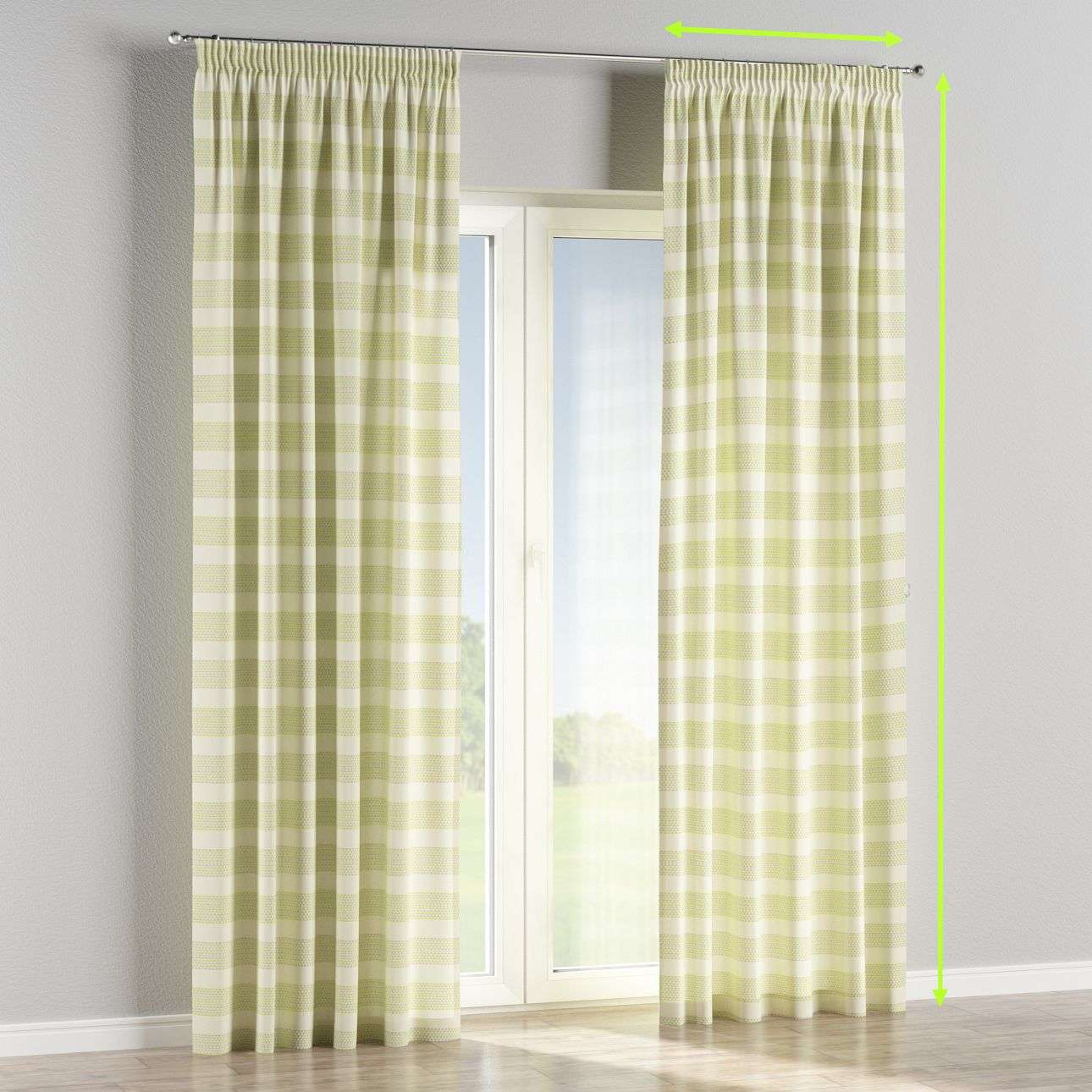 Pencil pleat curtains in collection Rustica, fabric: 140-35