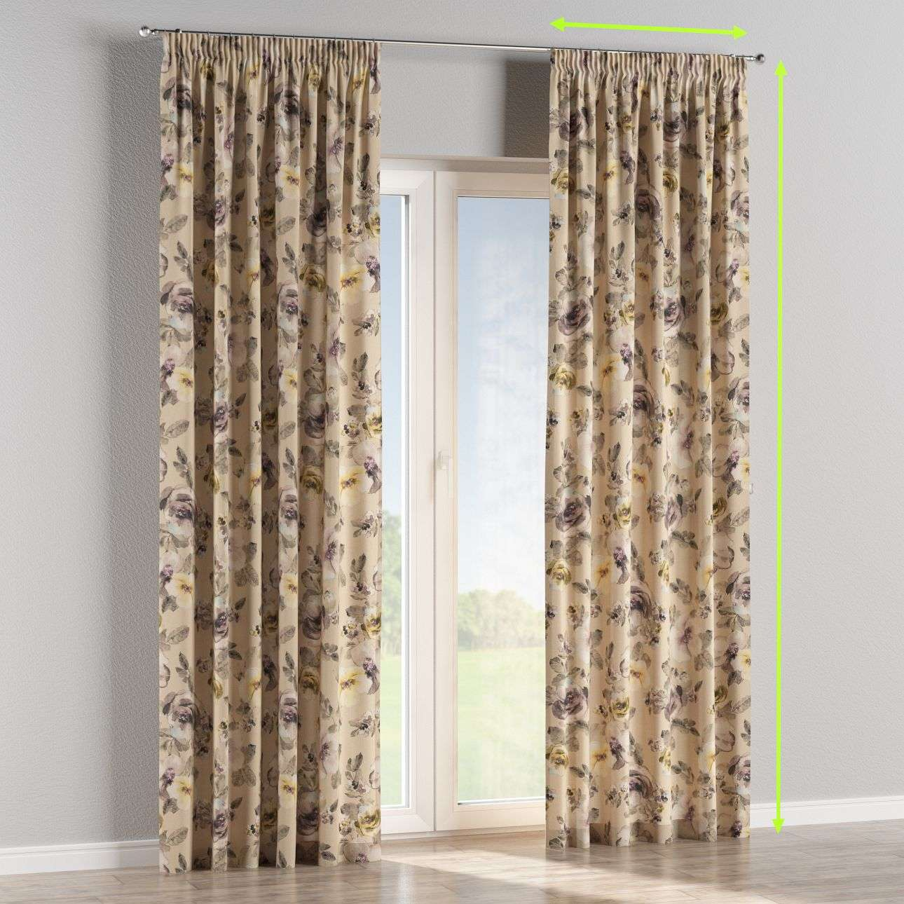 Pencil pleat curtains in collection Londres, fabric: 140-44