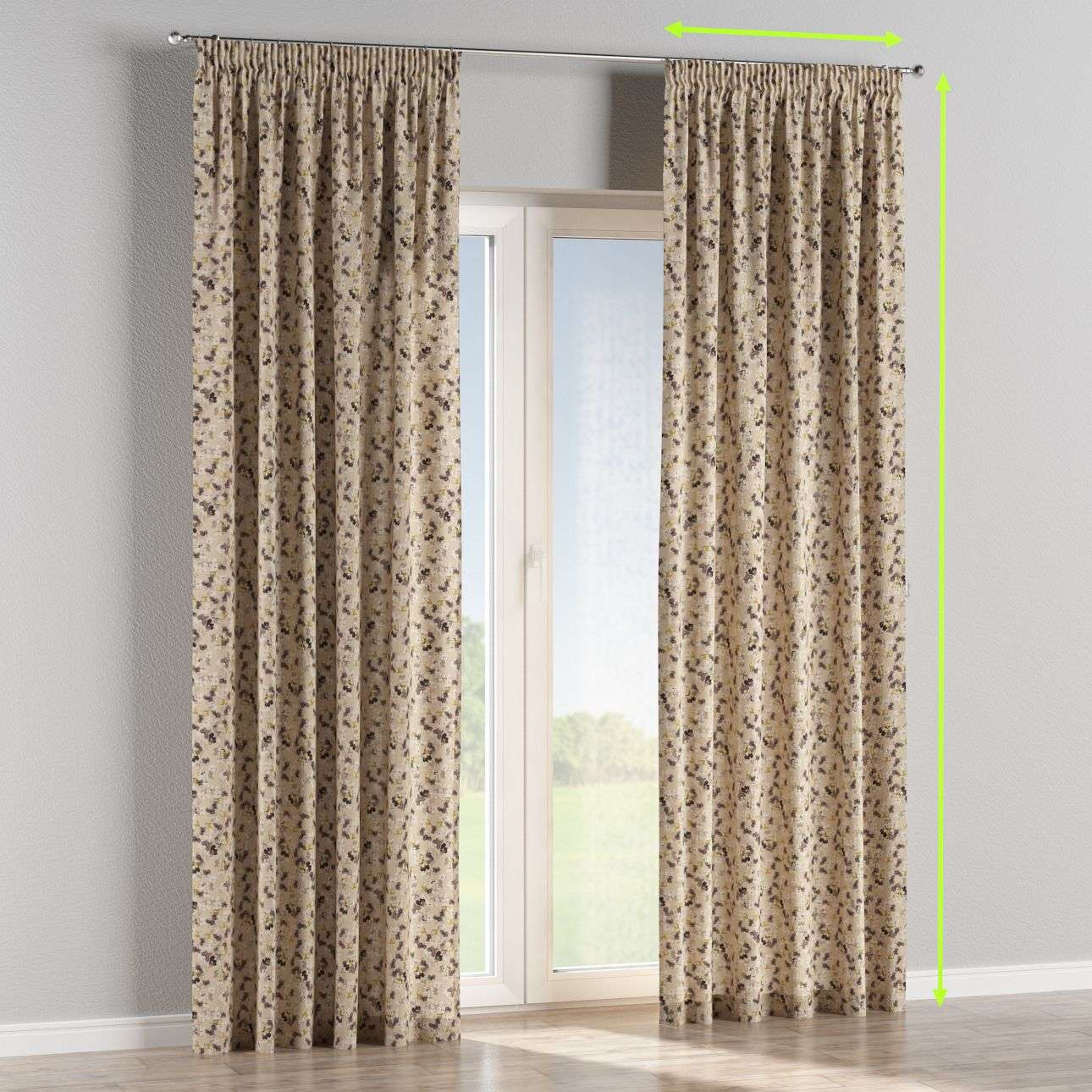 Pencil pleat curtains in collection Londres, fabric: 140-48