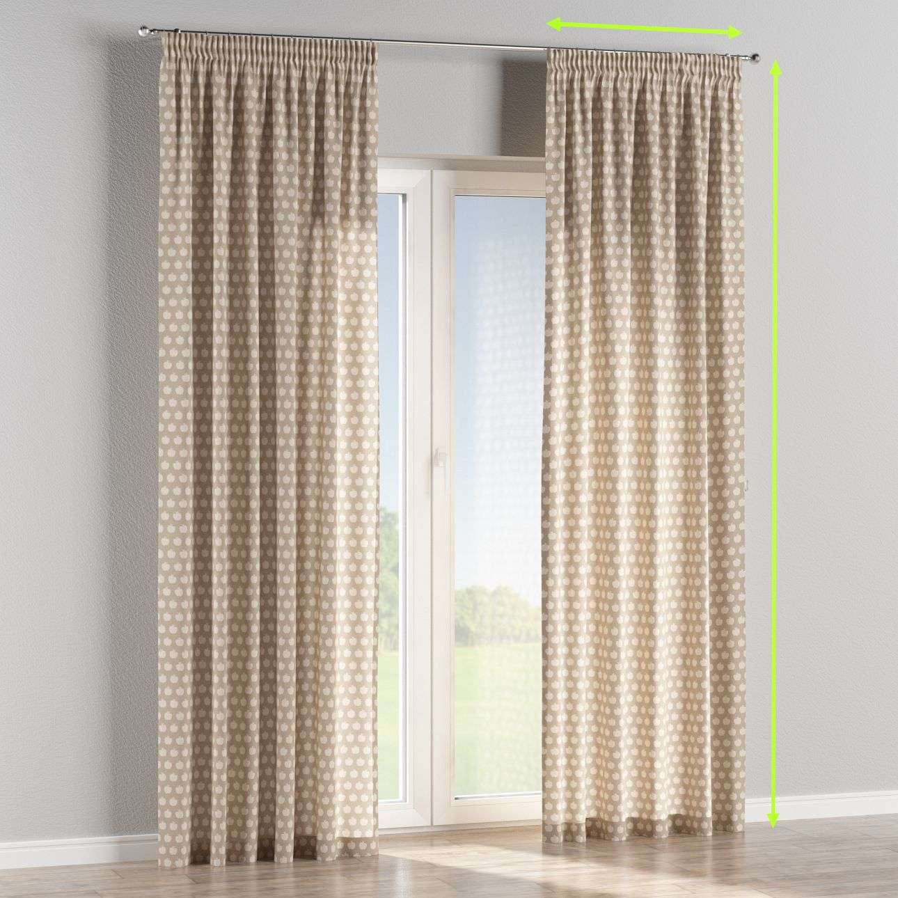 Pencil pleat curtains in collection Flowers, fabric: 140-55