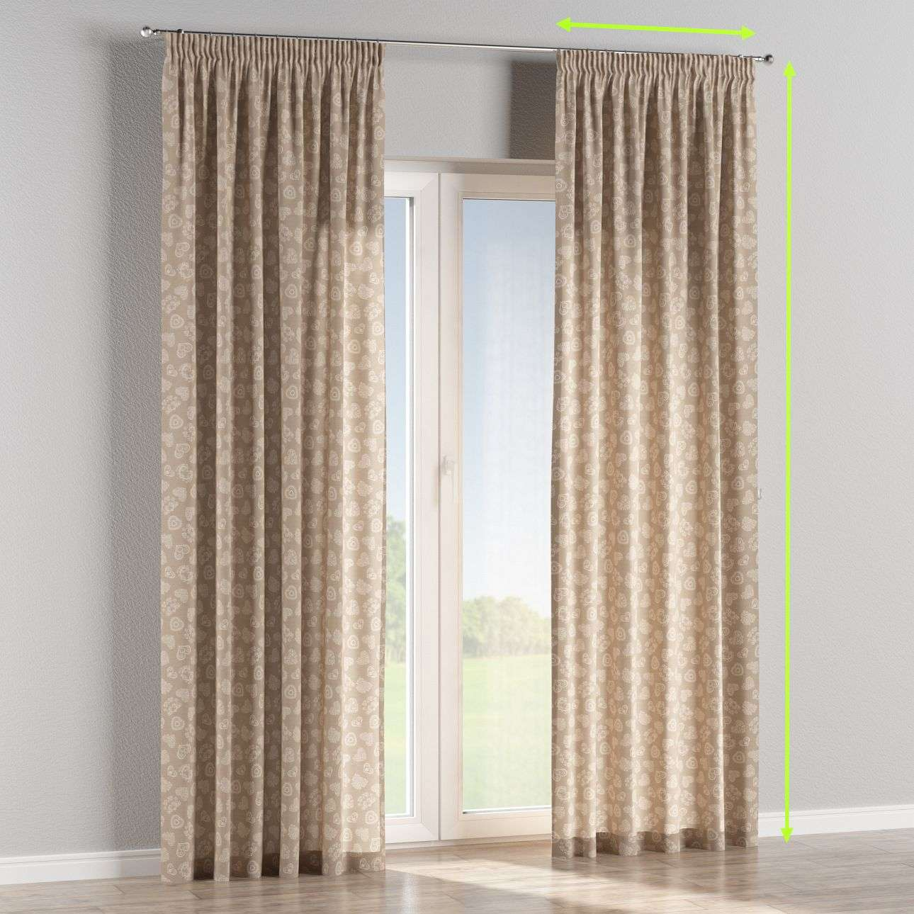 Pencil pleat curtains in collection Flowers, fabric: 140-56