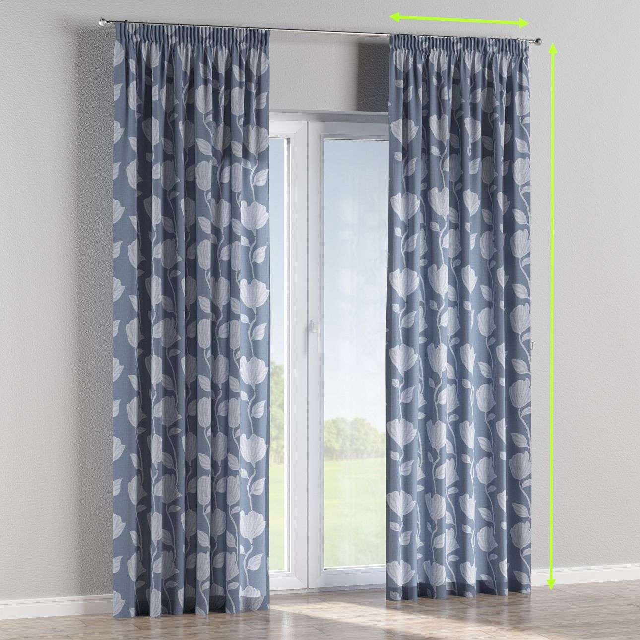 Pencil pleat curtains in collection Venice, fabric: 140-61