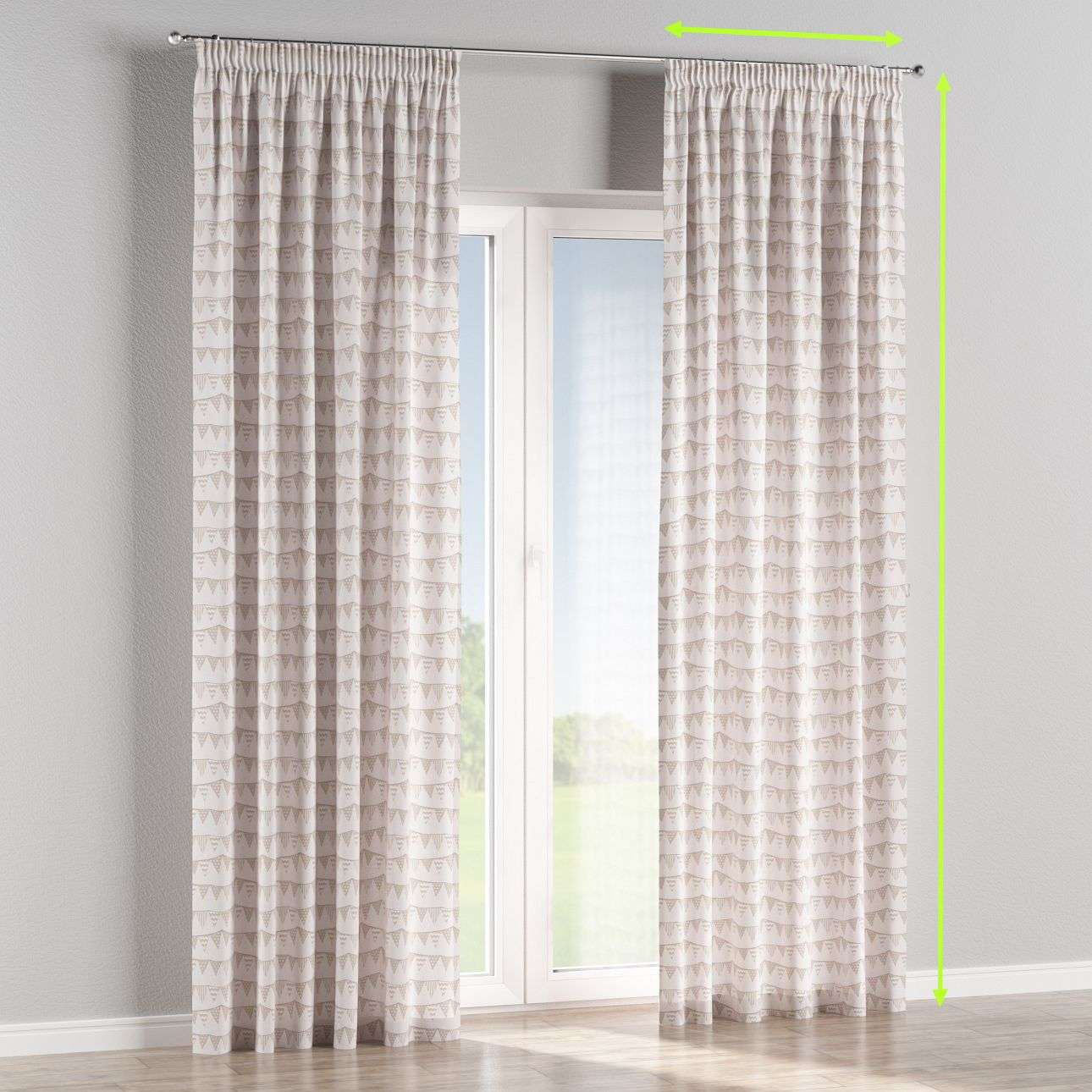 Pencil pleat curtains in collection Marina, fabric: 140-65