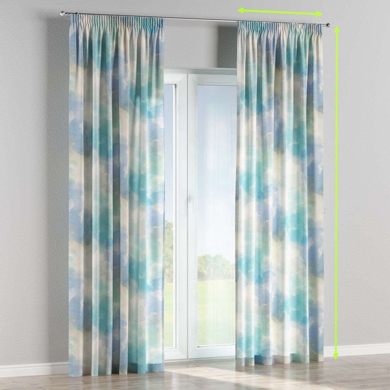 Pencil pleat curtains in collection Aquarelle, fabric: 140-67