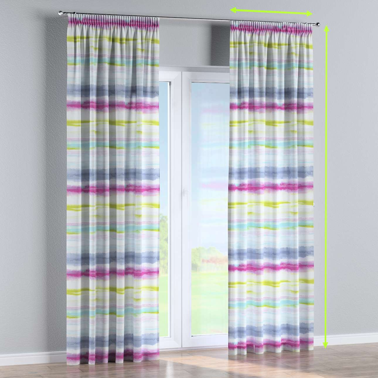 Pencil pleat curtains in collection Aquarelle, fabric: 140-69