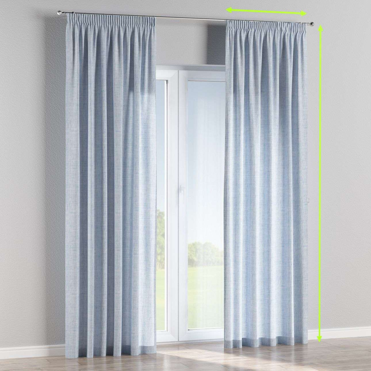Pencil pleat curtains in collection Aquarelle, fabric: 140-74