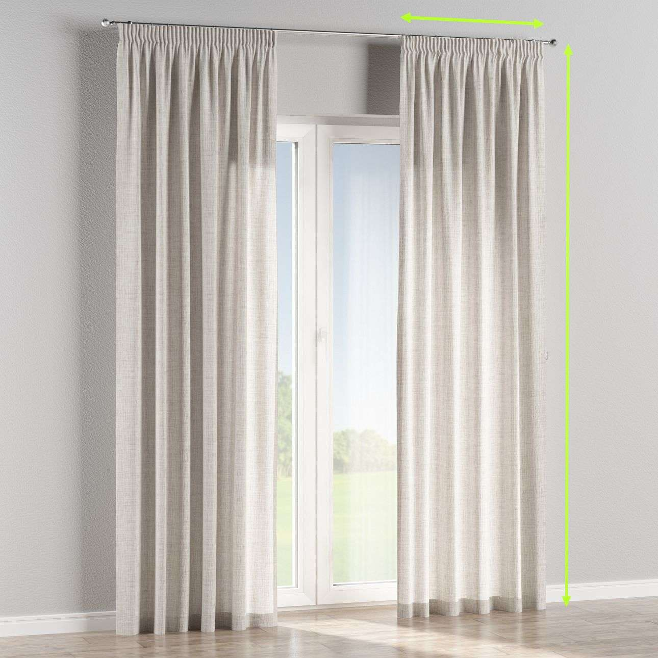Pencil pleat curtains in collection Aquarelle, fabric: 140-75