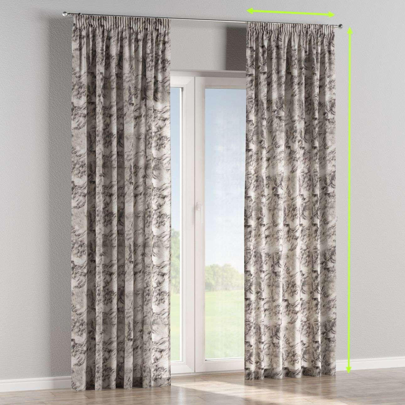 Pencil pleat curtains in collection Norge, fabric: 140-82