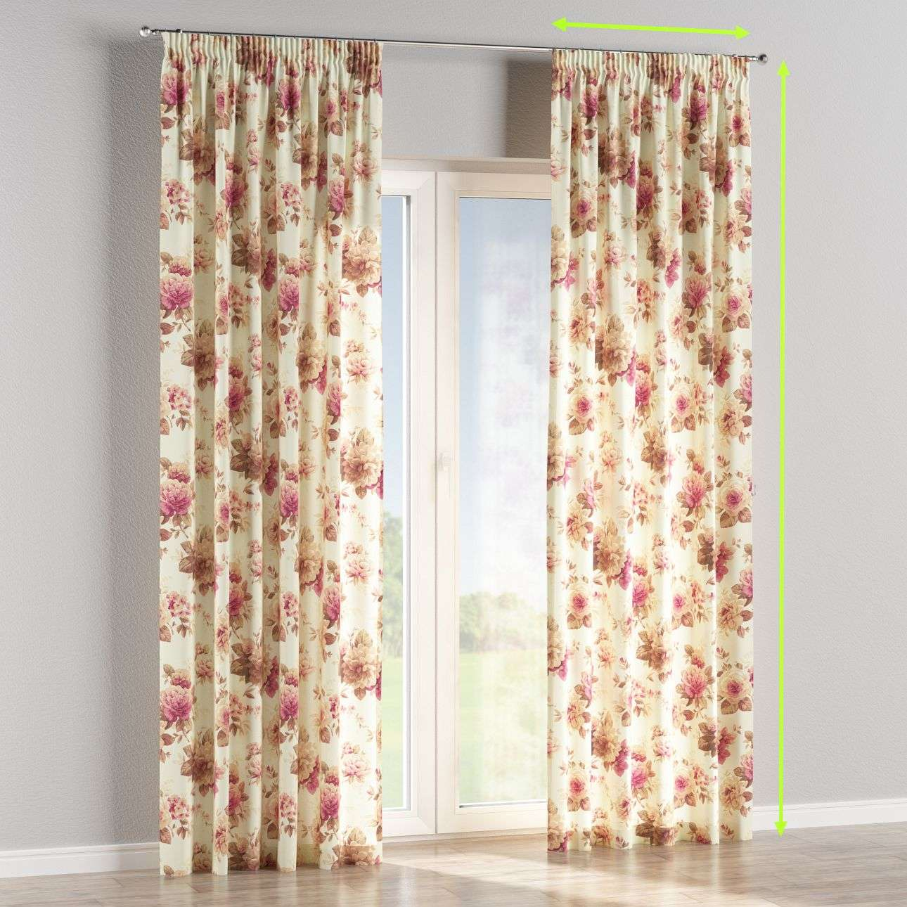 Pencil pleat curtains in collection Mirella, fabric: 141-06