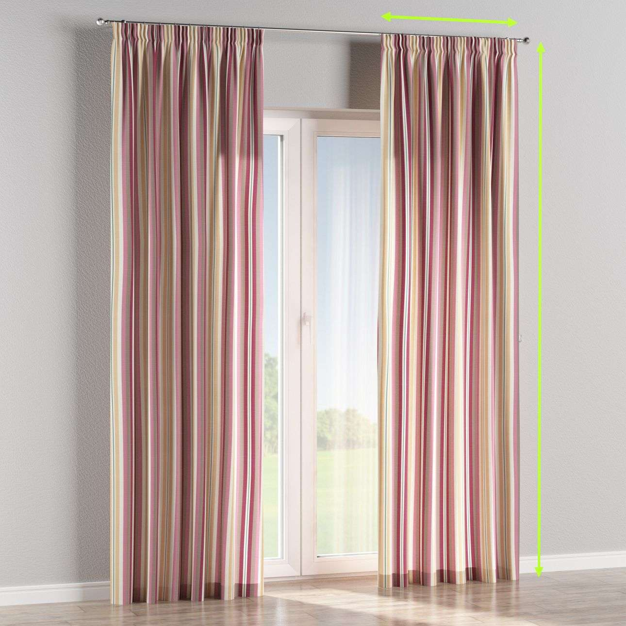 Pencil pleat curtains in collection Mirella, fabric: 141-14