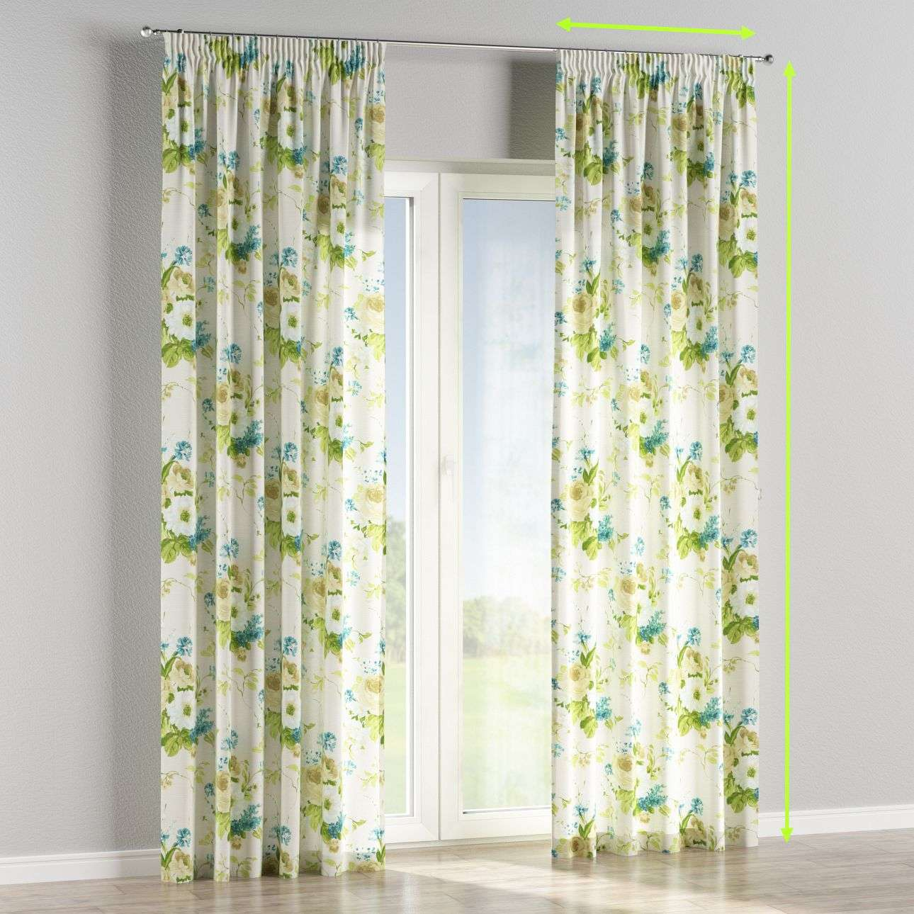 Pencil pleat curtains in collection Mirella, fabric: 141-15
