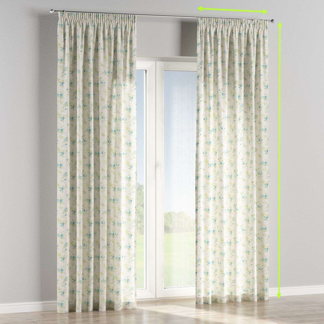 Pencil pleat curtains in collection Mirella, fabric: 141-16