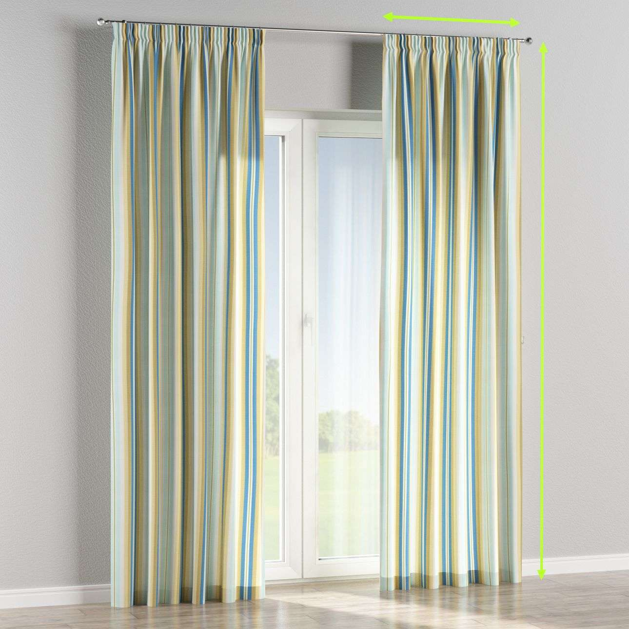Pencil pleat curtains in collection Mirella, fabric: 141-17