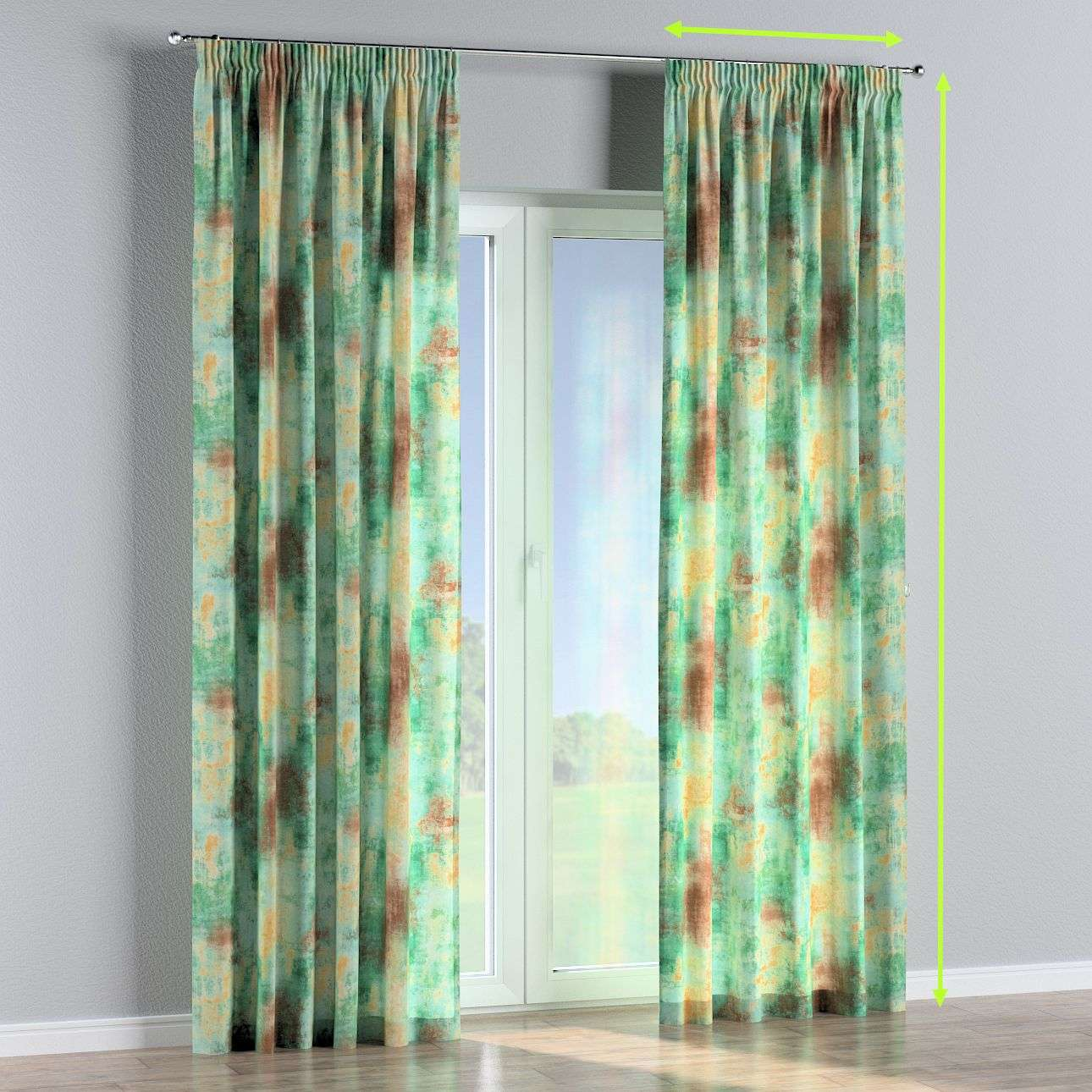 Pencil pleat curtains in collection Urban Jungle, fabric: 141-22