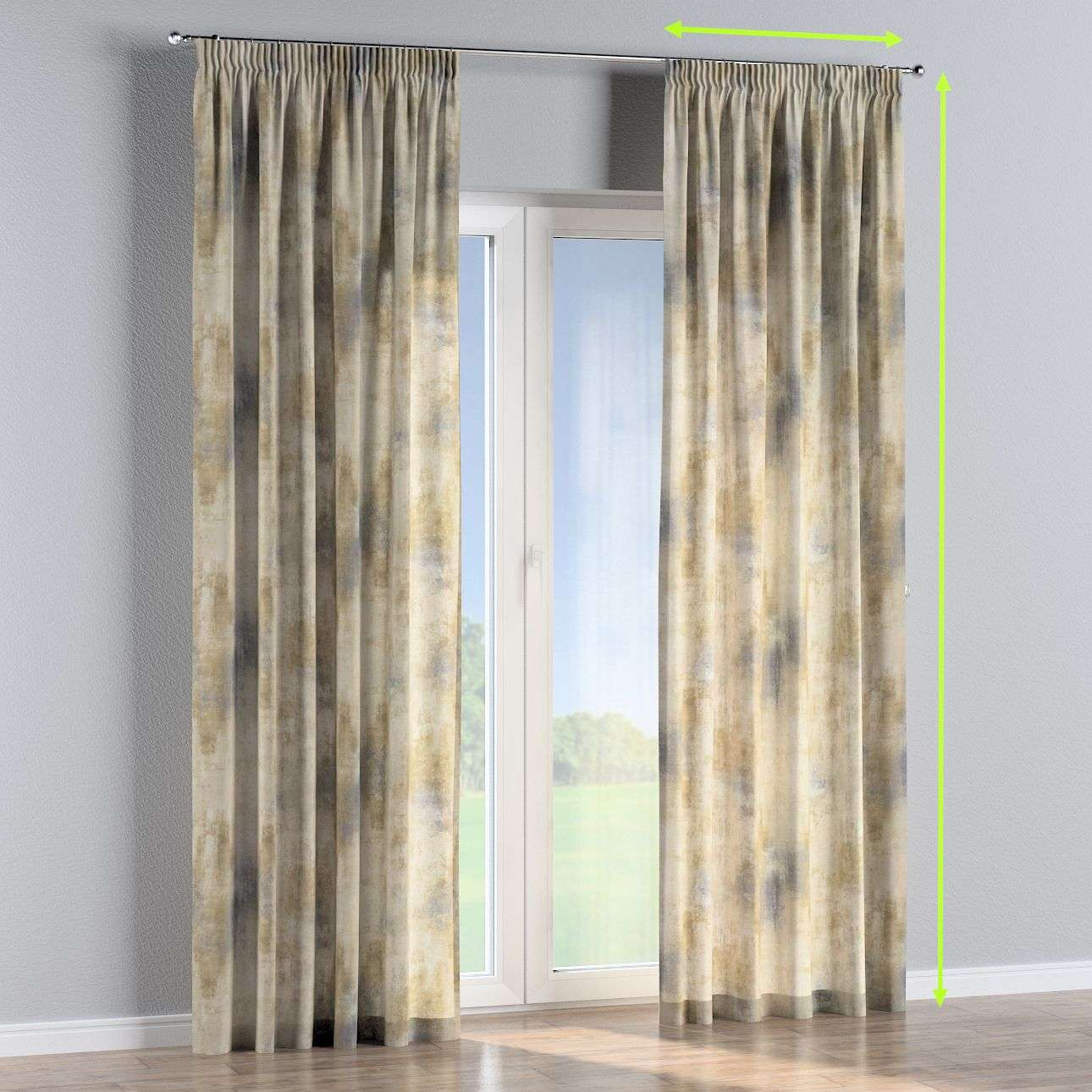 Pencil pleat curtains in collection Urban Jungle, fabric: 141-23