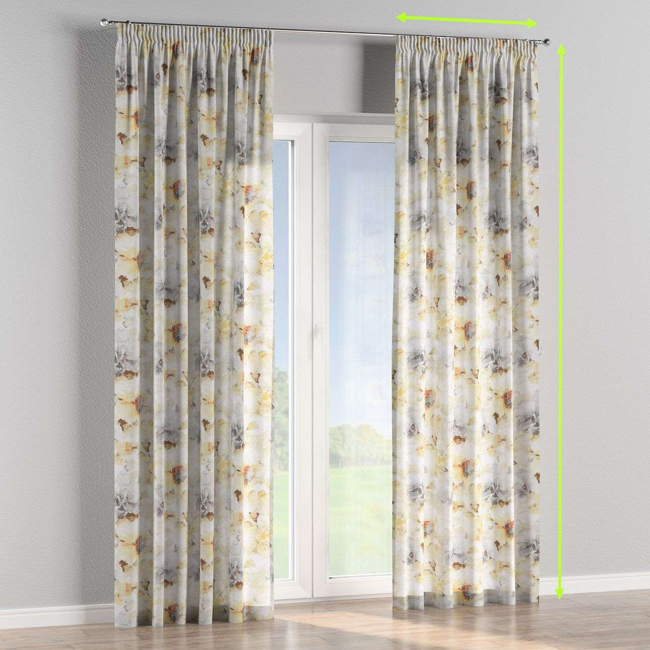 Pencil pleat curtains in collection Acapulco, fabric: 141-33
