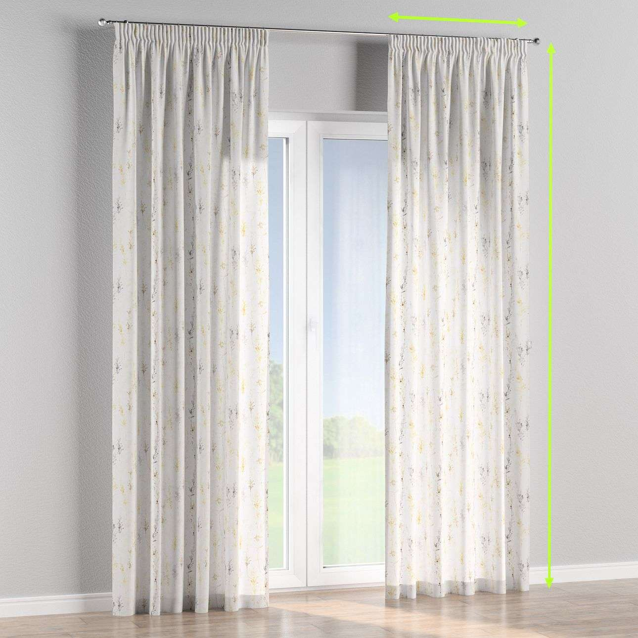 Pencil pleat curtains in collection Acapulco, fabric: 141-36