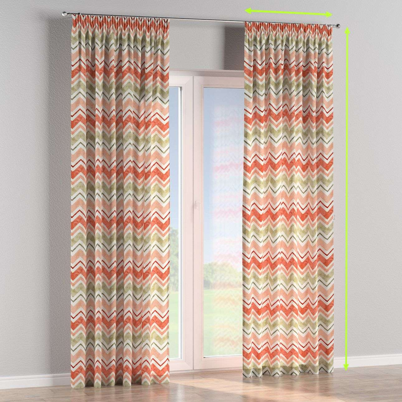 Pencil pleat curtains in collection Acapulco, fabric: 141-40