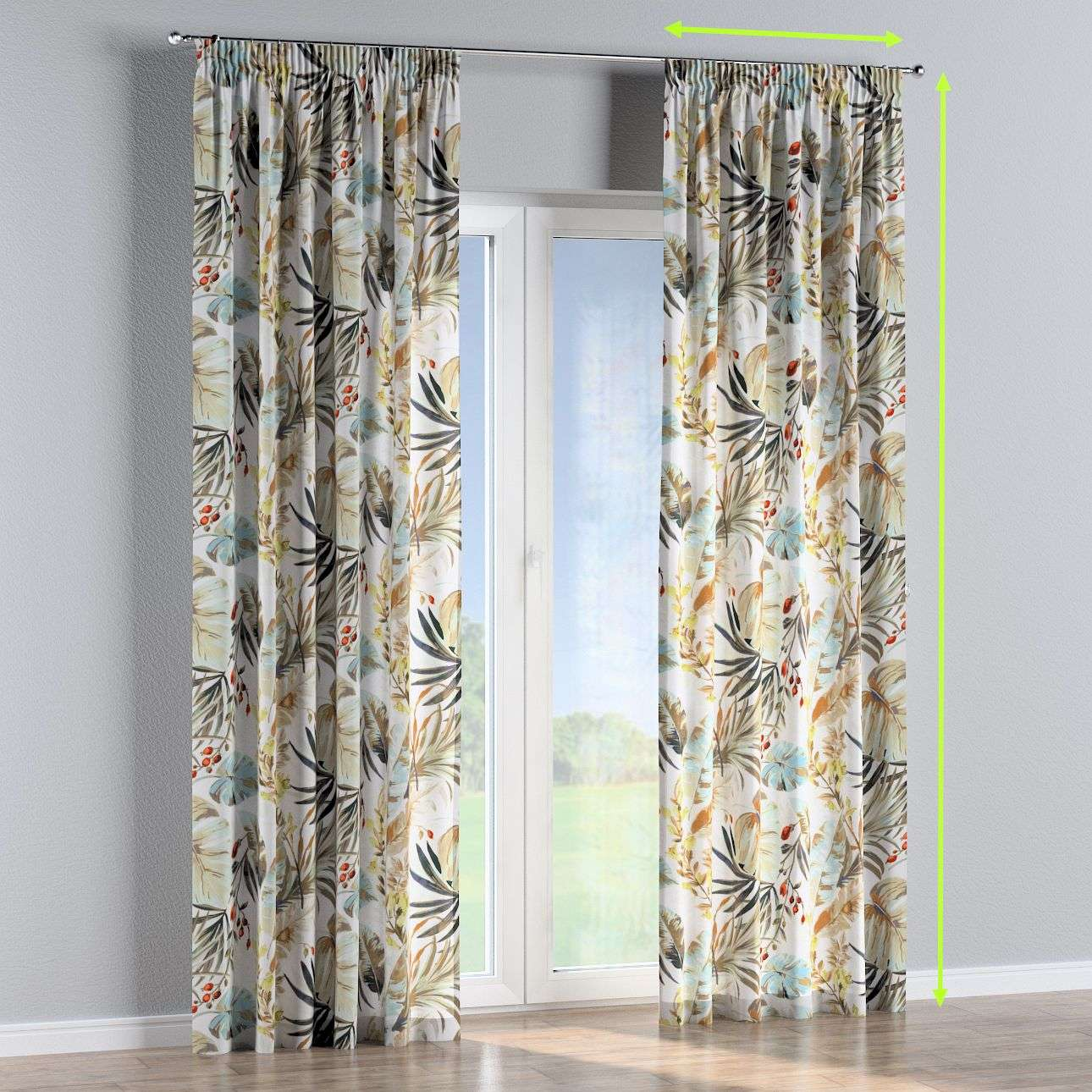 Pencil pleat curtains in collection Urban Jungle, fabric: 141-42