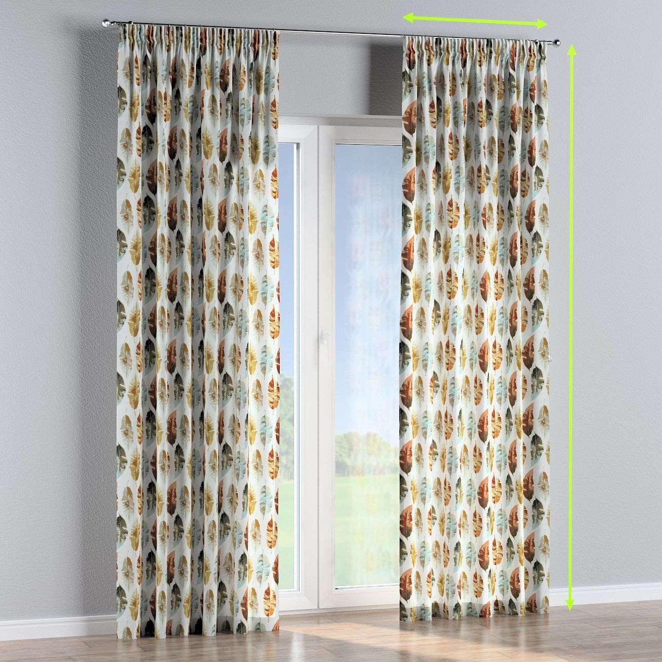 Pencil pleat curtains in collection Urban Jungle, fabric: 141-43