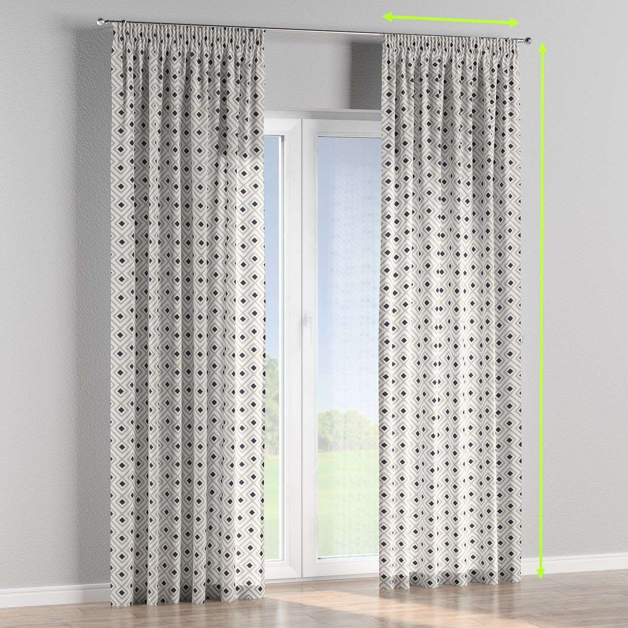 Pencil pleat curtains in collection Geometric, fabric: 141-44