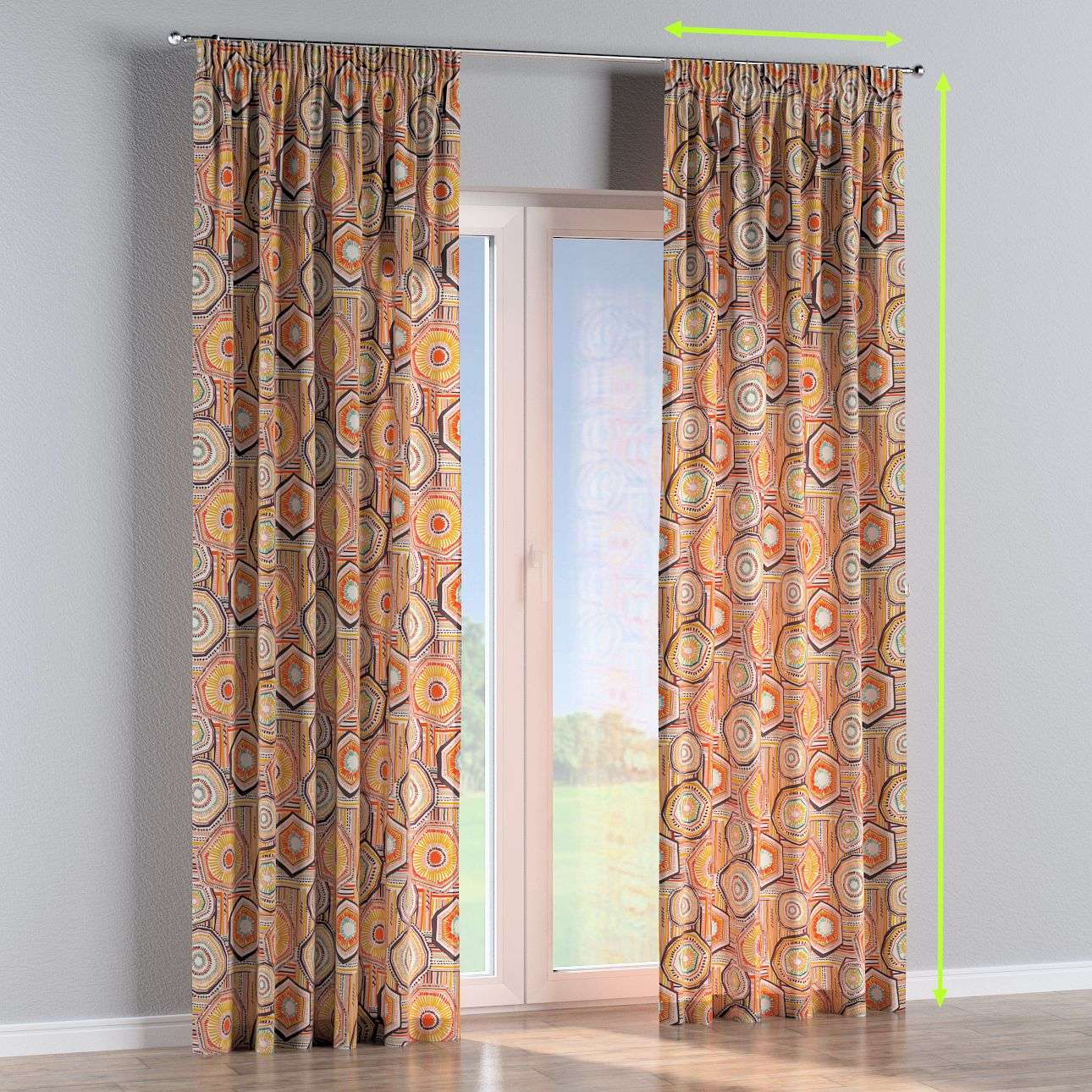 Pencil pleat curtains in collection New Art, fabric: 141-55
