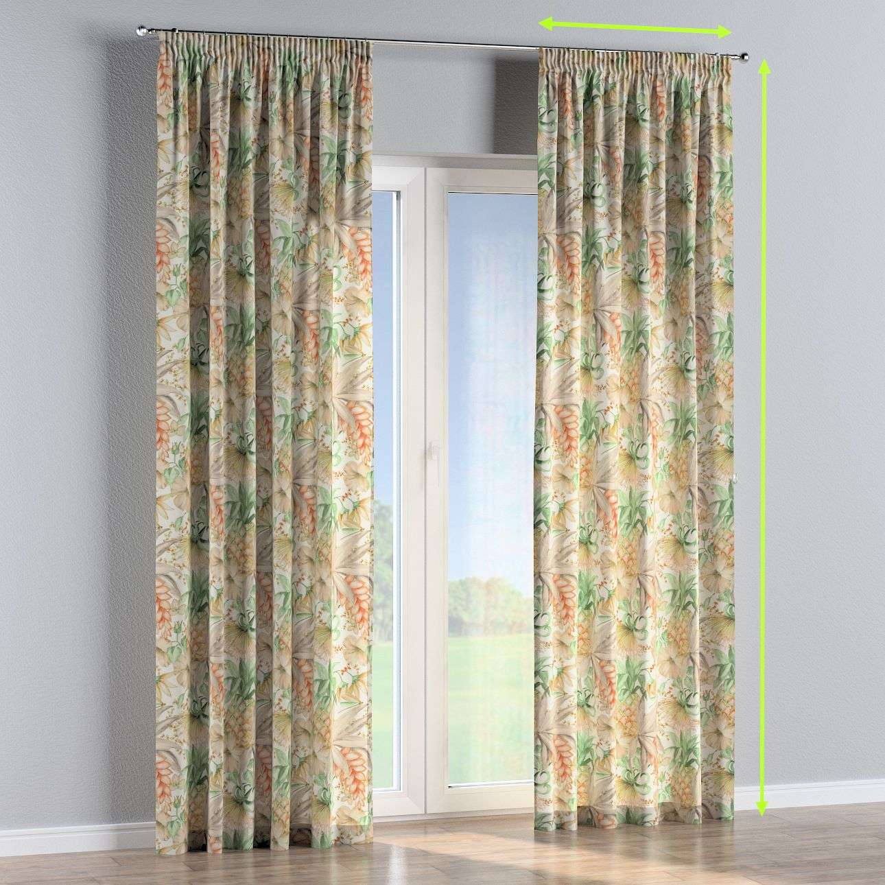 Pencil pleat curtains in collection Urban Jungle, fabric: 141-61