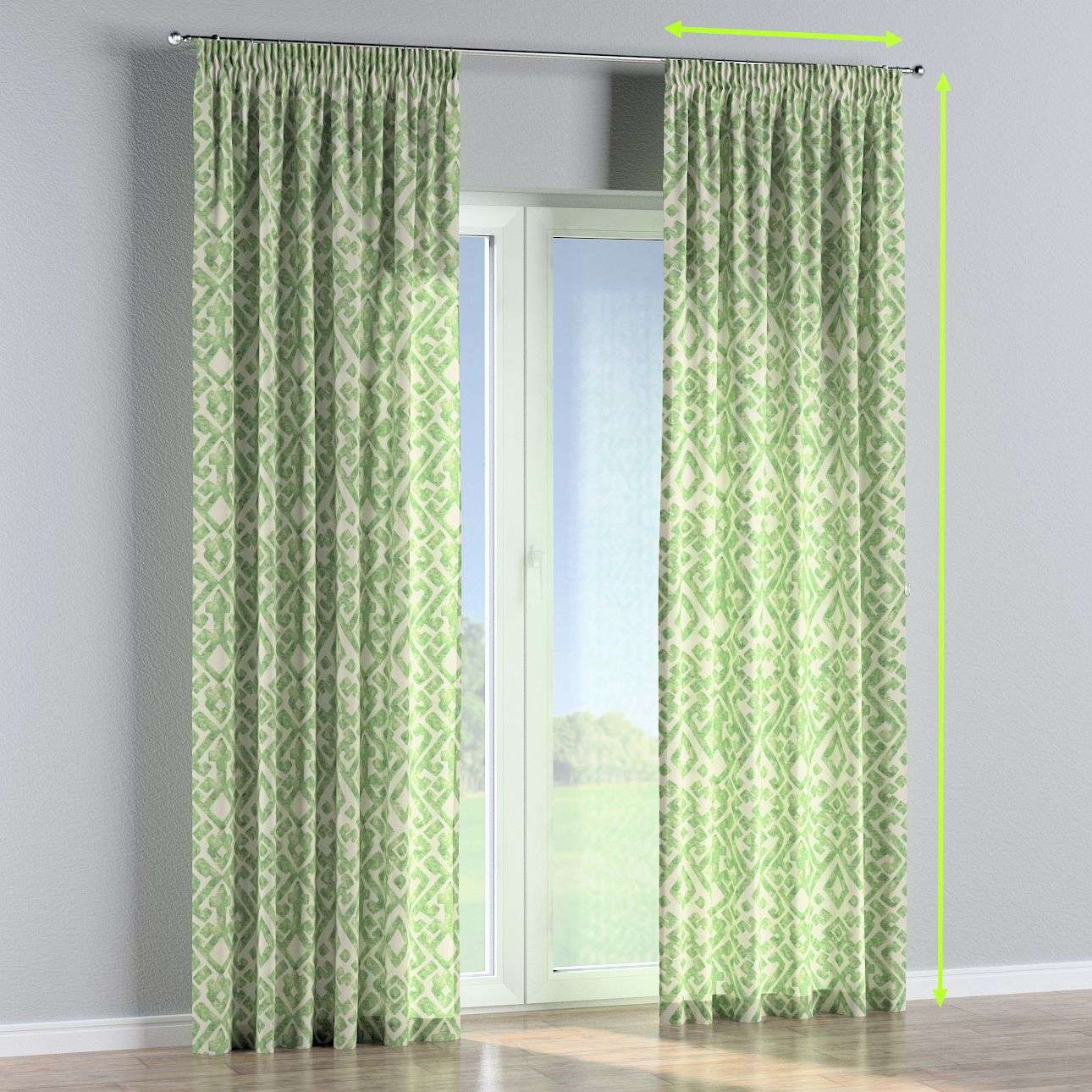 Pencil pleat curtains in collection Urban Jungle, fabric: 141-62