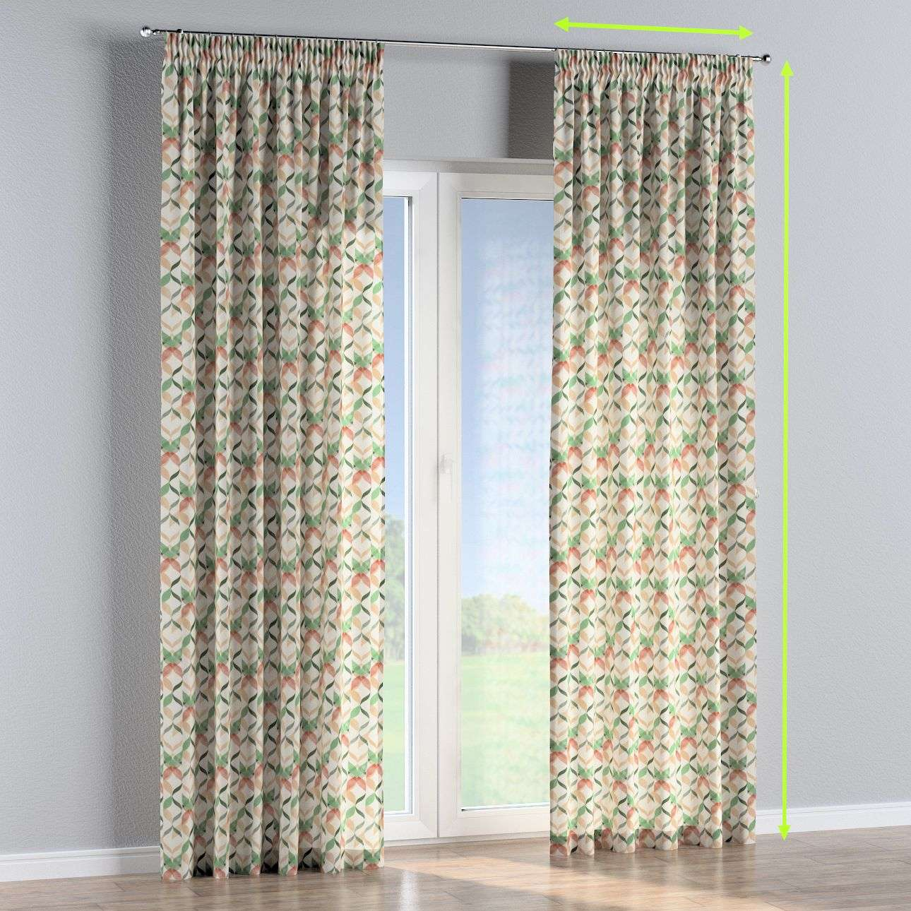 Pencil pleat curtains in collection Urban Jungle, fabric: 141-64