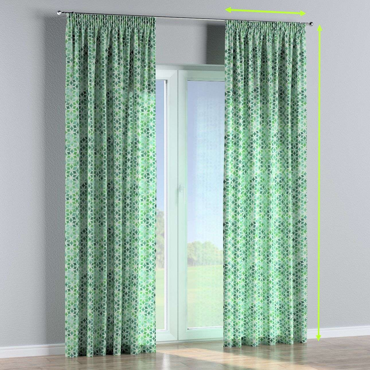 Pencil pleat curtains in collection Urban Jungle, fabric: 141-65