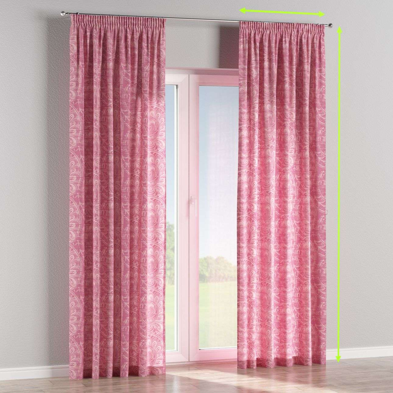 Pencil pleat curtains in collection Mirella, fabric: 143-07