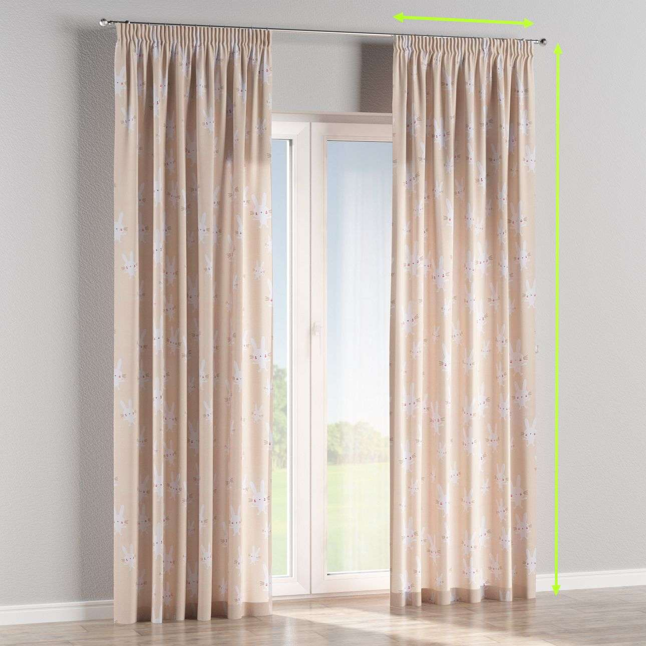 Pencil pleat curtains in collection Apanona, fabric: 151-00