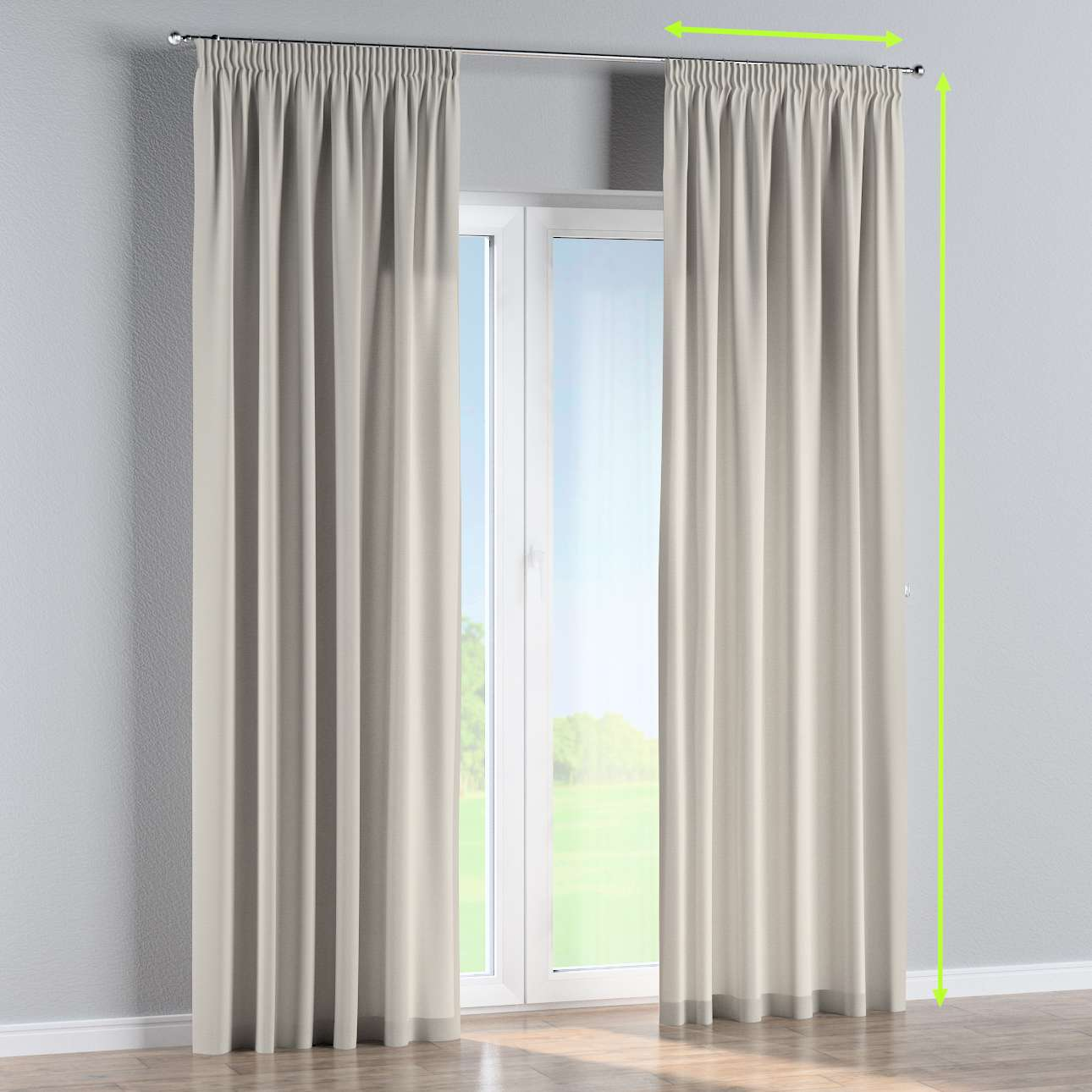Pencil pleat curtain in collection Panama Cotton, fabric: 702-31