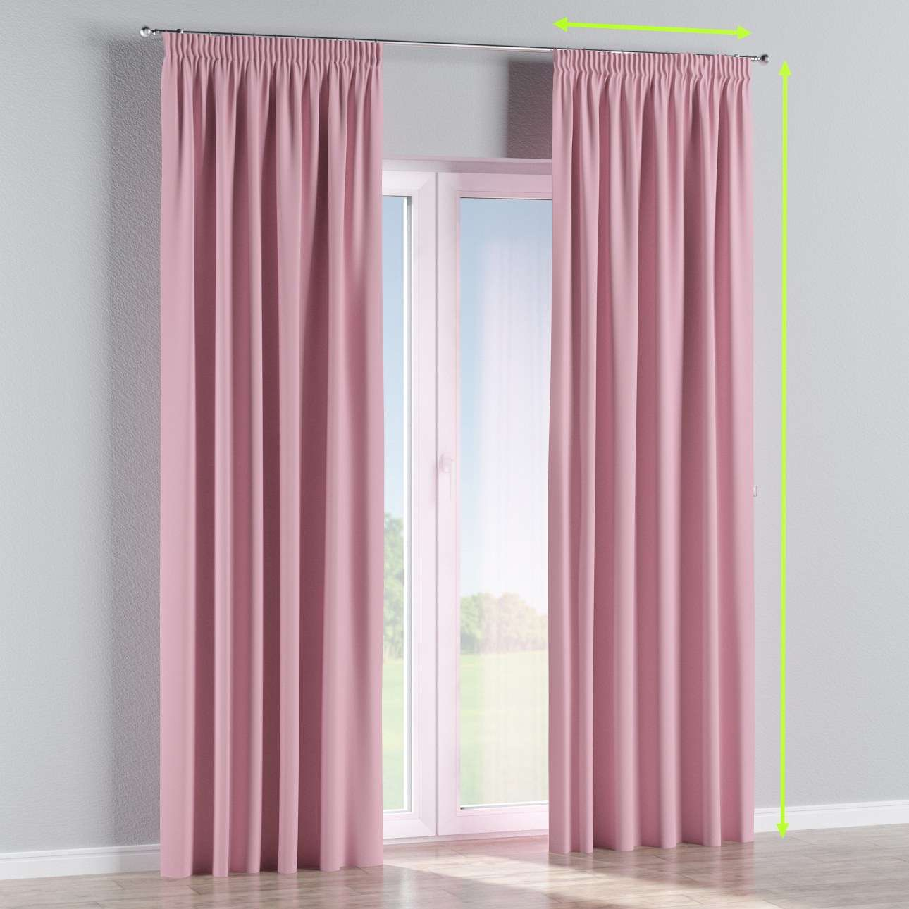 Pencil pleat curtain in collection Blackout, fabric: 269-92