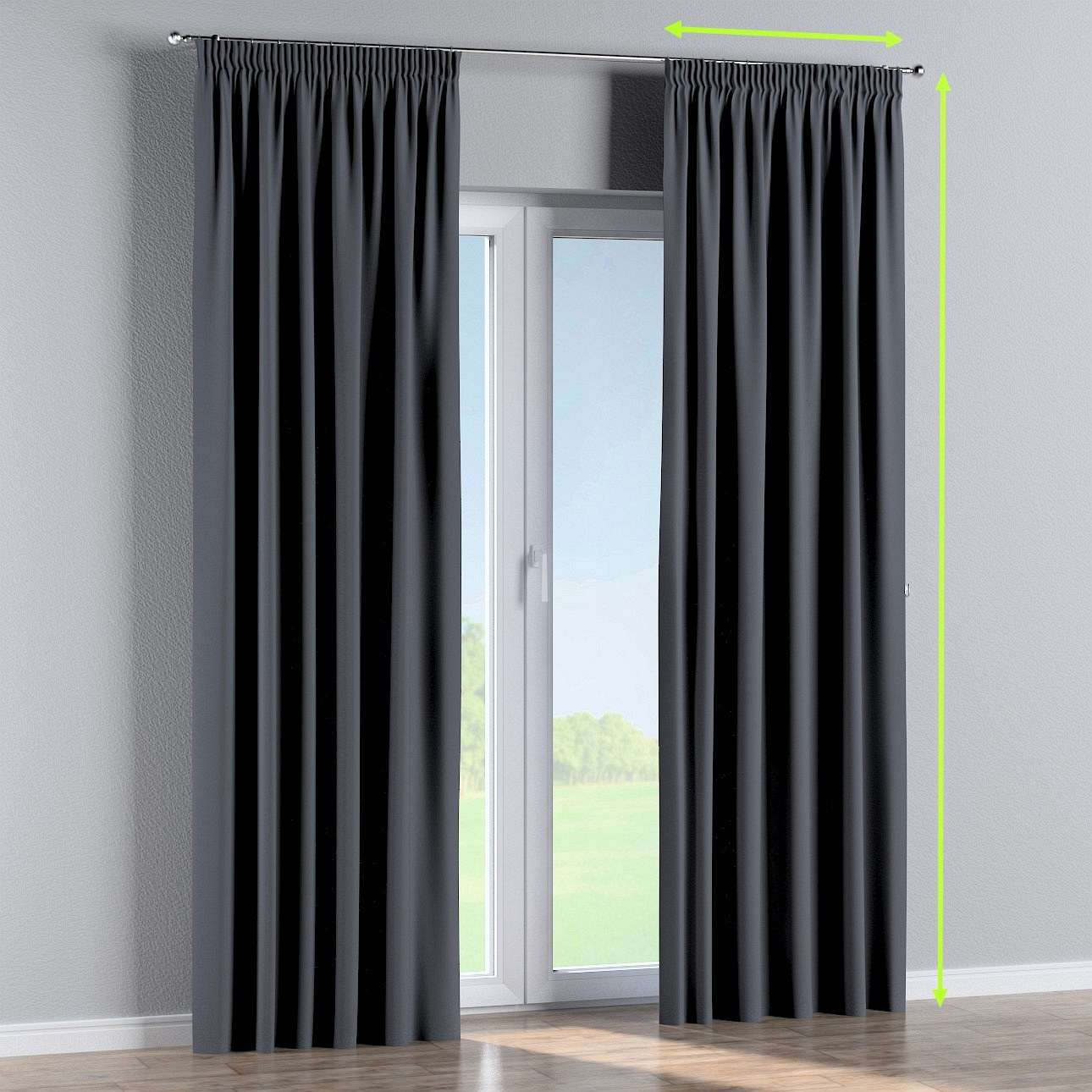 Pencil pleat curtain in collection Blackout, fabric: 269-76