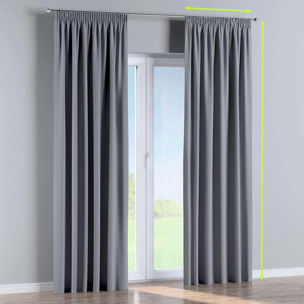 Pencil pleat curtain in collection Blackout, fabric: 269-96