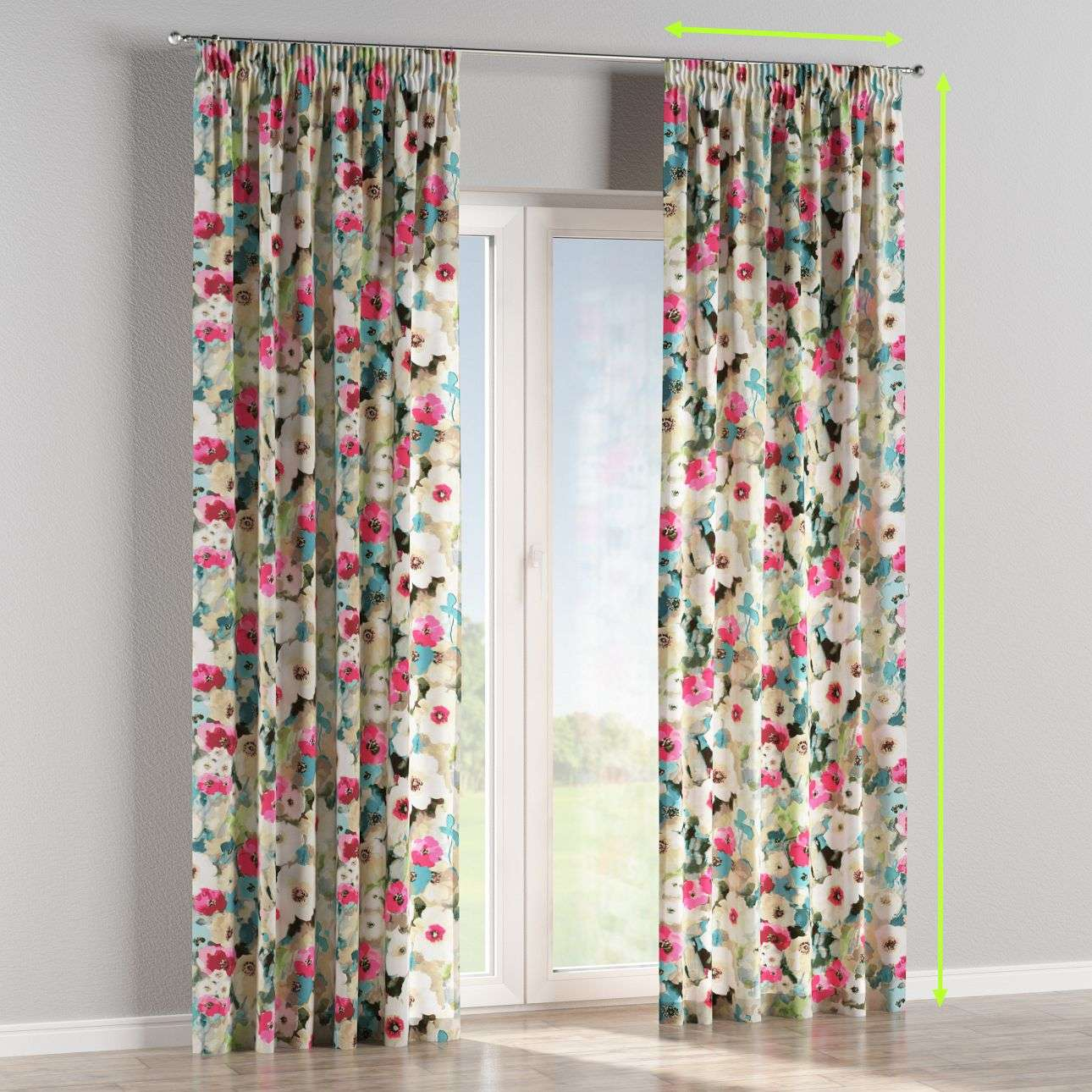 Pencil pleat curtain in collection Monet, fabric: 140-08