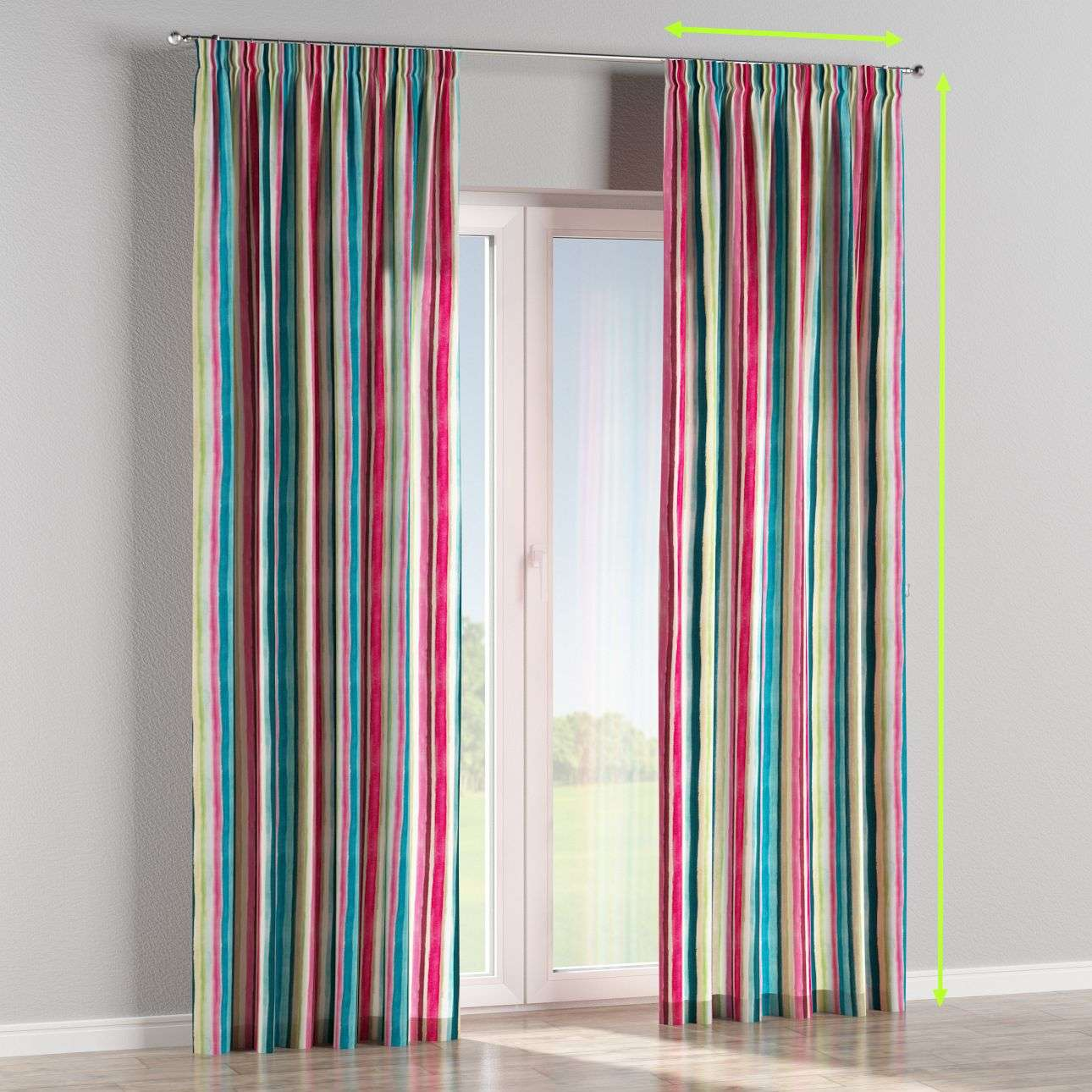 Pencil pleat curtain in collection Monet, fabric: 140-09