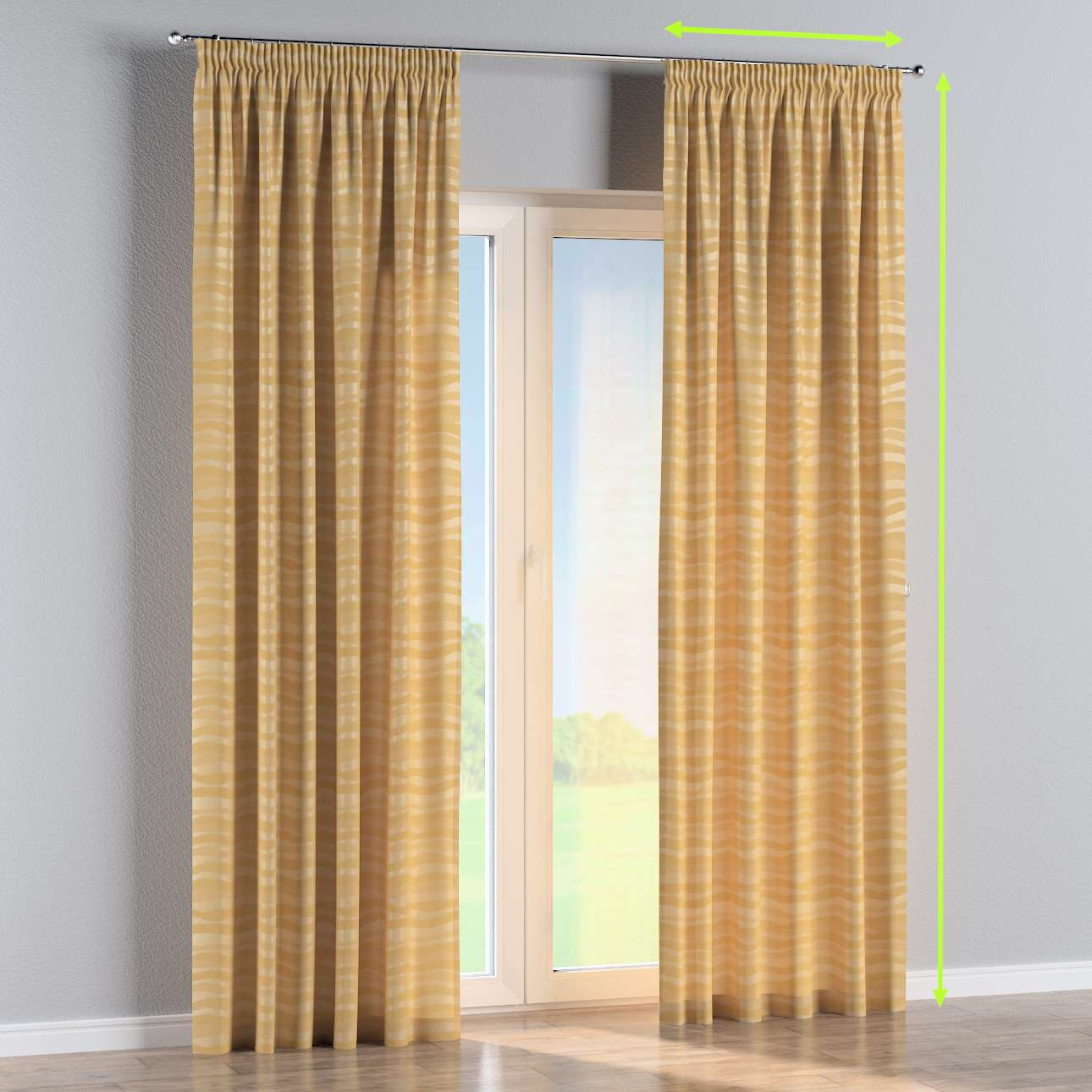 Pencil pleat curtain in collection Damasco, fabric: 141-74