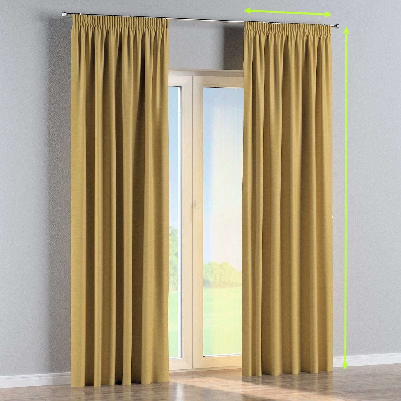 Pencil pleat curtain in collection Blackout, fabric: 269-68