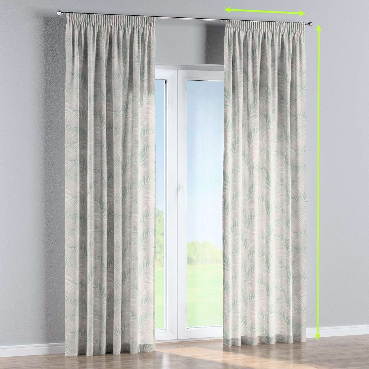 Pencil pleat curtain in collection Gardenia, fabric: 142-15