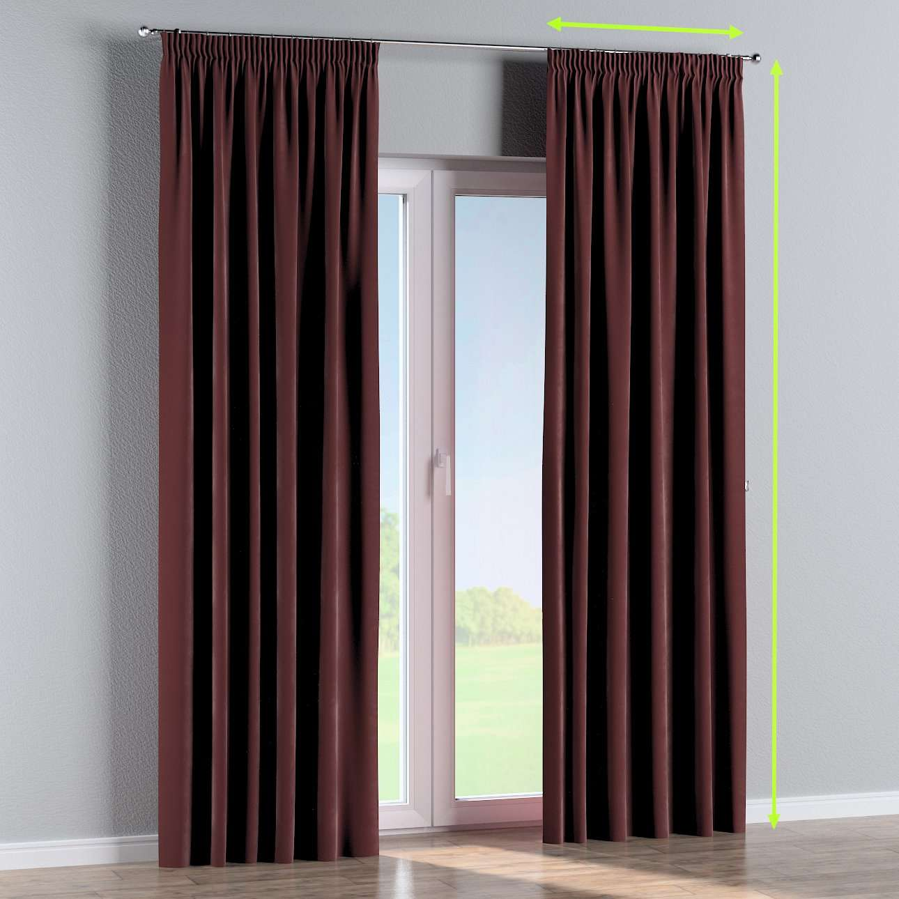 Pencil pleat curtain in collection Velvet, fabric: 704-26