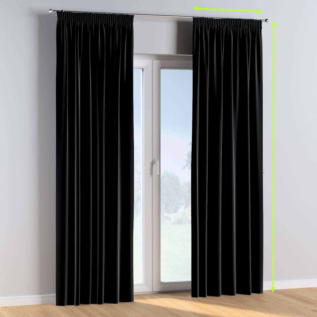 Pencil pleat curtains in collection Posh Velvet, fabric: 704-17