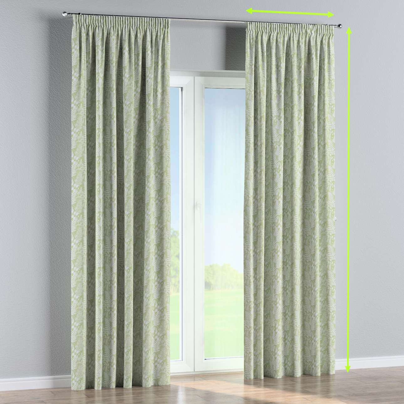 Pencil pleat curtain in collection Pastel Forest, fabric: 142-49