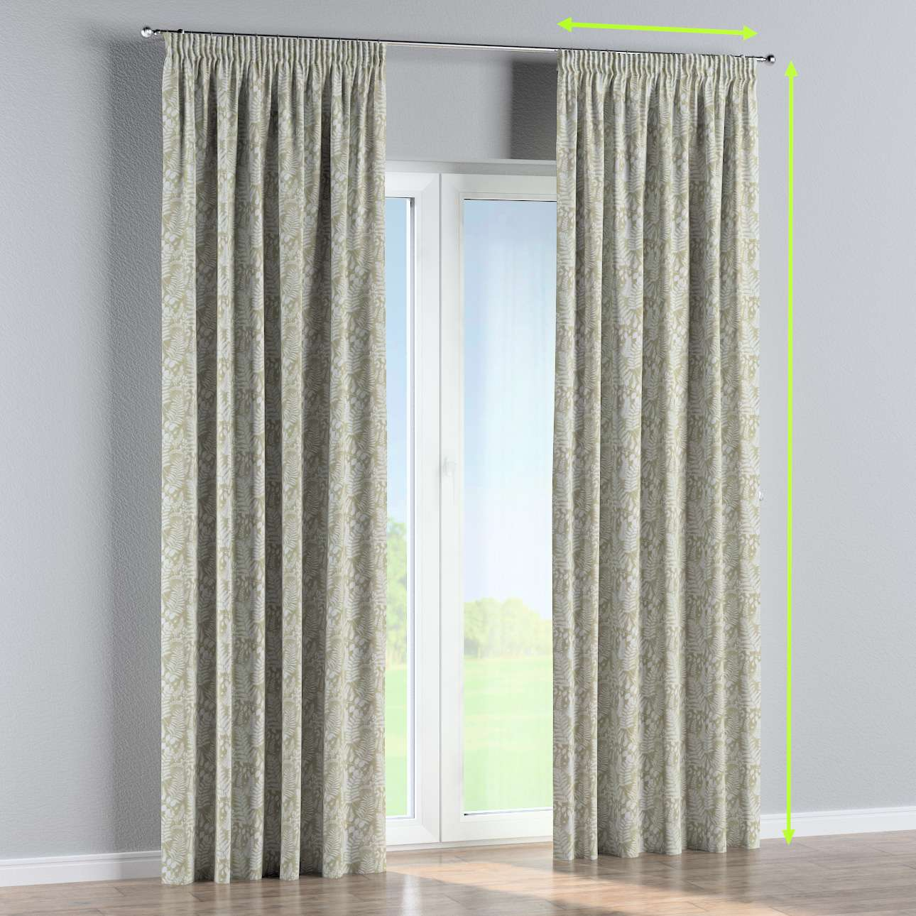 Pencil pleat curtain in collection Pastel Forest, fabric: 142-50