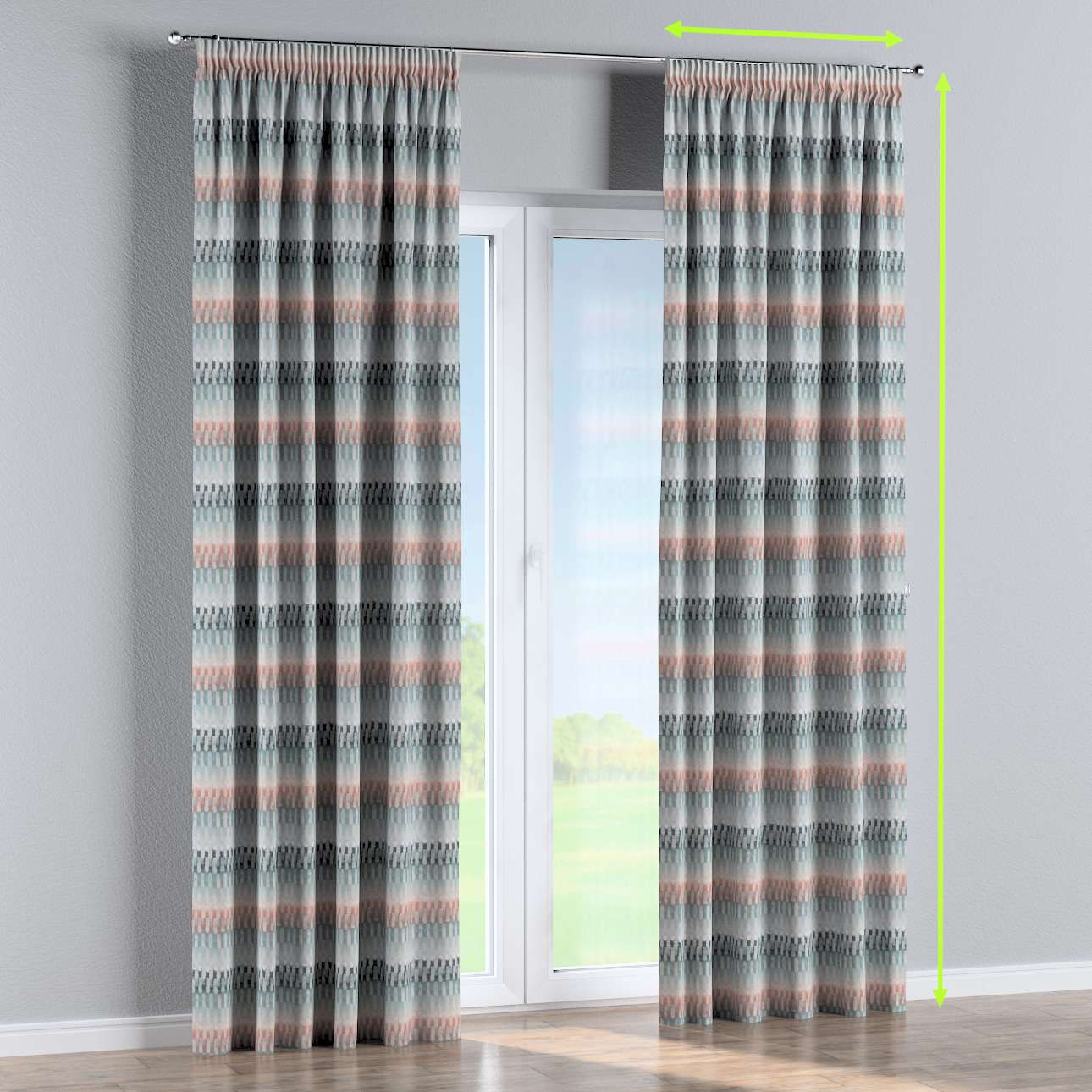 Pencil pleat curtain in collection Pastel Forest, fabric: 142-51